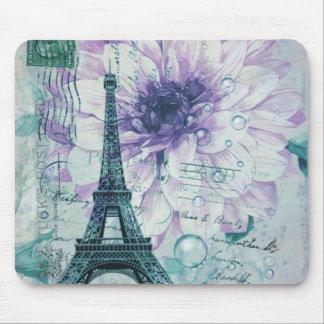 purple floral Vintage Paris Eiffel Tower Mouse Pad