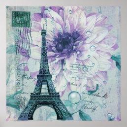 purple floral Vintage Paris Eiffel Tower Poster