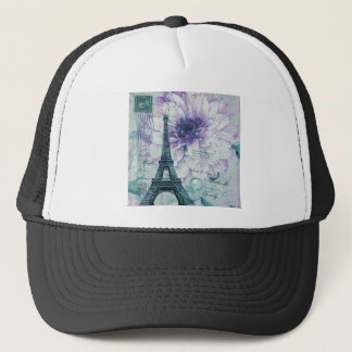 purple floral Vintage Paris Eiffel Tower Trucker Hat