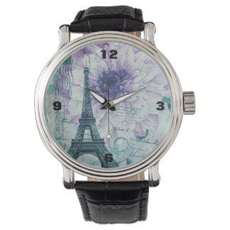 purple floral Vintage Paris Eiffel Tower Wrist Watches