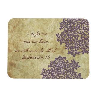 Purple Floral Vintage Rectangular Photo Magnet
