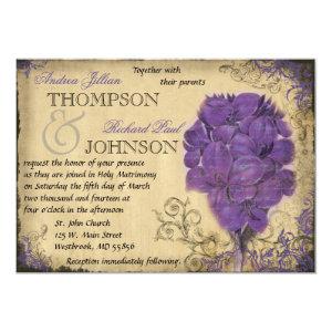 Purple Floral Vintage Wedding Invitation 5