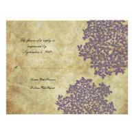 Purple Floral Vintage Wedding RSVP Invitation