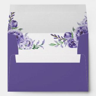 Purple Floral Watercolor Elegant Violet Wedding Envelope