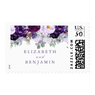 Purple Floral Watercolor Postage