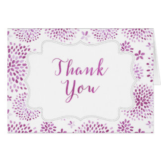 Purple Floral Watercolor Thank You Card