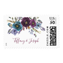 Purple Floral Watercolor Wedding Engagement Party Postage