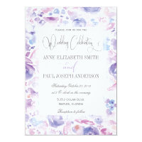 Purple Floral watercolor wedding invitation