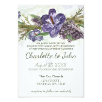 purple floral watercolor wedding invitations