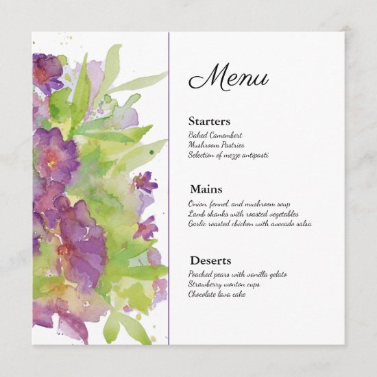 Purple floral watercolour menu