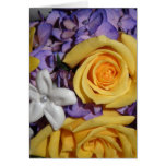 Purple floral wedding bouquet greeting card