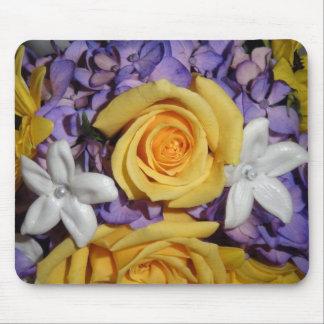 Purple floral wedding bouquet mouse pad