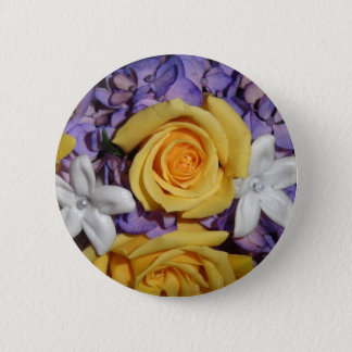 Purple floral wedding bouquet pinback button