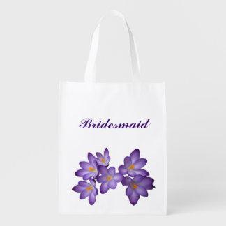 Purple Floral Wedding Bridesmaid Grocery Bag
