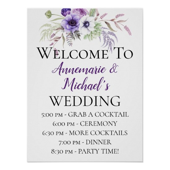 Purple Floral Wedding Ceremony Details Welcome Poster