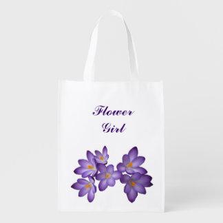 Purple Floral Wedding Flower Girl Grocery Bags