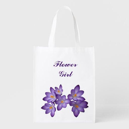 Purple Floral Wedding Flower Girl Grocery Bag