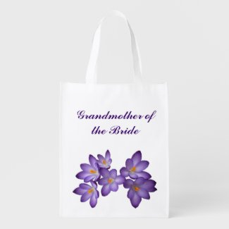 Purple Floral Wedding Grandmother of the Bride Grocery Bag
