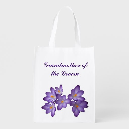 Purple Floral Wedding Grandmother of the Groom Market Totes