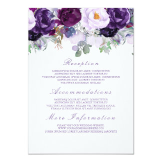 Purple Floral Wedding Information Guest Card