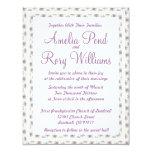 "Purple Floral Wedding Invitation 4.25"" X 5.5"" Invitation Card"
