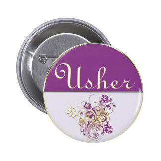 Purple Floral Wedding Invitation Set Button