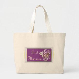 Purple Floral Wedding Invitation Set Large Tote Bag