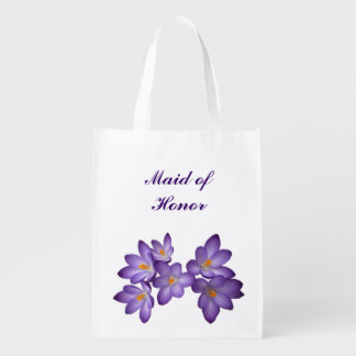 Purple Floral Wedding Maid of Honor Reusable Grocery Bags