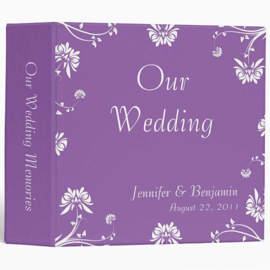 Purple Floral Wedding Memories Binder