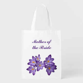 Purple Floral Wedding Mother of the Bride Tote Grocery Bag