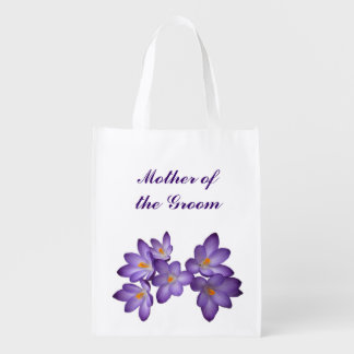 Purple Floral Wedding Mother of the Groom Tote Grocery Bags