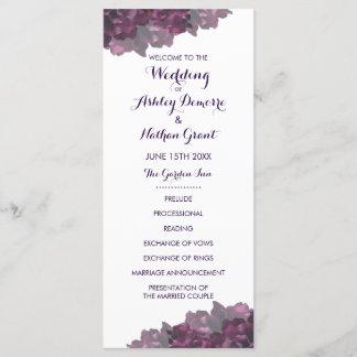 Purple Floral Wedding Program