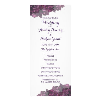 Purple Floral Wedding Program