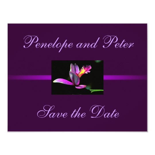 Purple Floral Wedding Save the Date Modern Bride Card
