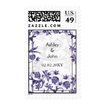 purple floral wedding save the date postage