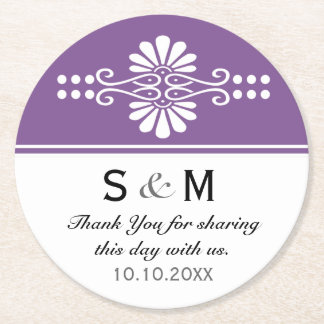 Purple Floral Wedding Thank You Monogrammed Round Paper Coaster