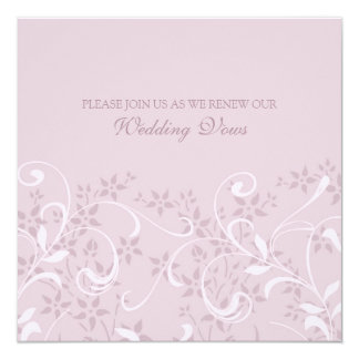 "Purple Floral Wedding Vow Renewal Invitations 5.25"" Square Invitation Card"