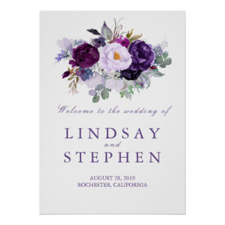 Purple Floral Wedding Welcome Sign