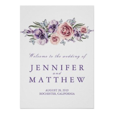 Art Themed Purple Floral Wedding Welcome Sign