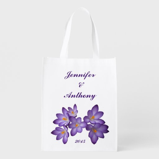 Purple Floral Wedding Market Tote