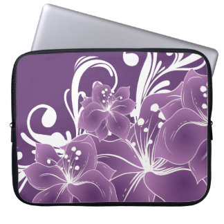 Purple Floral White Scrolls Computer Sleeve