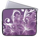 Purple Floral White Scrolls Laptop Sleeves