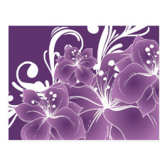 Purple Floral White Scrolls Postcards