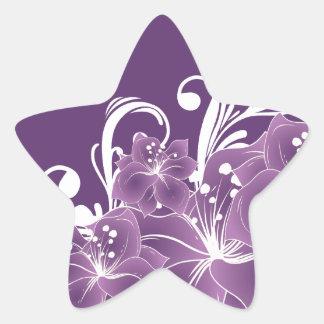 Purple Floral White Scrolls Star Sticker