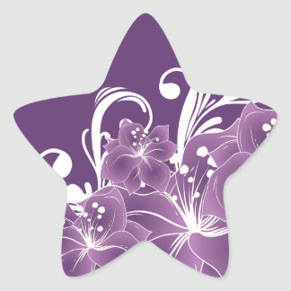 Purple Floral White Scrolls Sticker