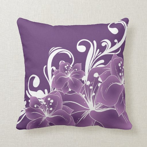 Purple Floral Decorative Pillows : Purple Floral White Scrolls Throw Pillows Zazzle