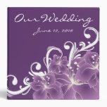 Purple Floral White Swirls Binder