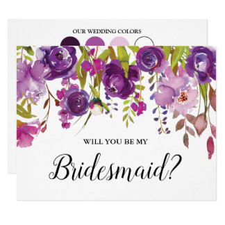 Purple Floral Will You Be My Bridesmaid Card