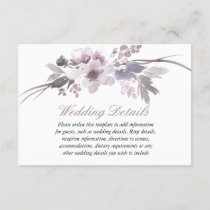 Purple Floral Winter wedding reception details Enclosure Card