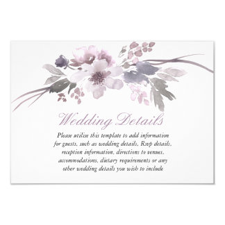 Purple Floral Winter wedding reception details Invitation